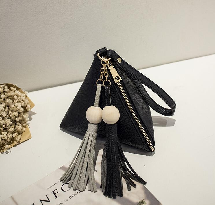 women Clutch bag handbag tote mobile phone pu bag Triangles, tassels black bag