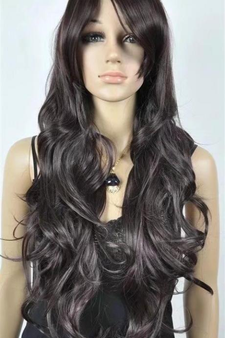 brown women long wigs synthetic wig