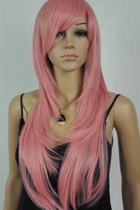 pink women long wigs synthetic wig