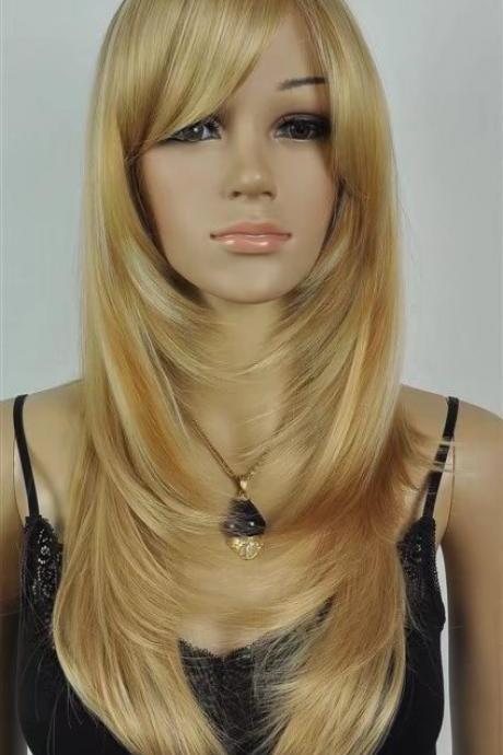 Platinum Blonde women long wigs synthetic wig
