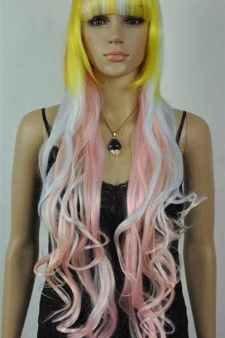yellow pink women long wigs synthetic wig