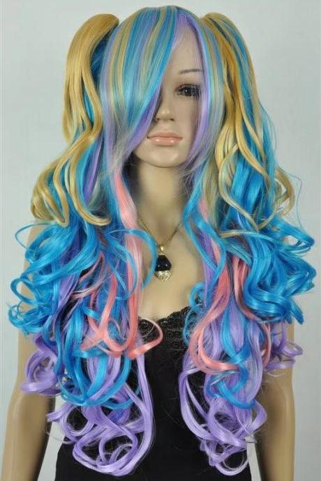 pink blue women long wigs synthetic wig GZ#001