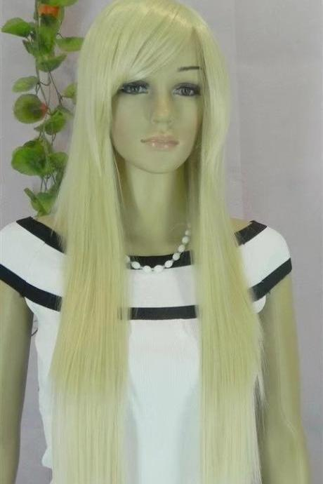 pale white long women wigs synthetic wig GZ#00013 abc fashioin girls clothing abc