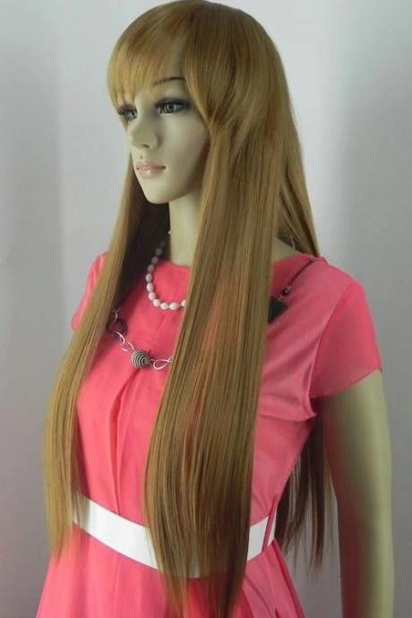 khaki long women wigs synthetic wig GZ#01005 ashioin girls clothing abc