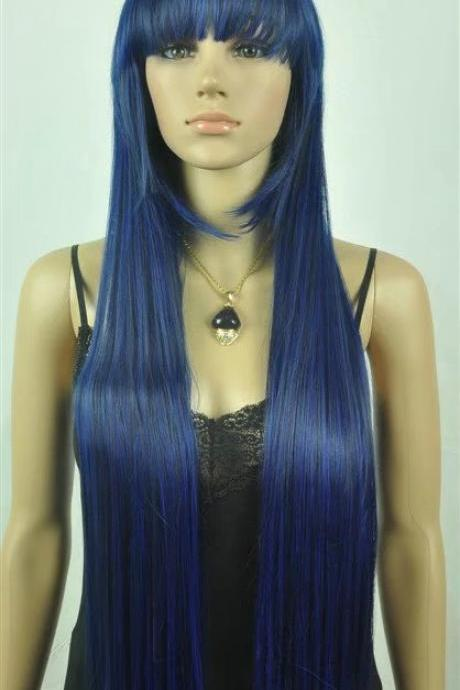 royalblue long women wigs synthetic wig GZ#01201 fashioin girls clothing abc